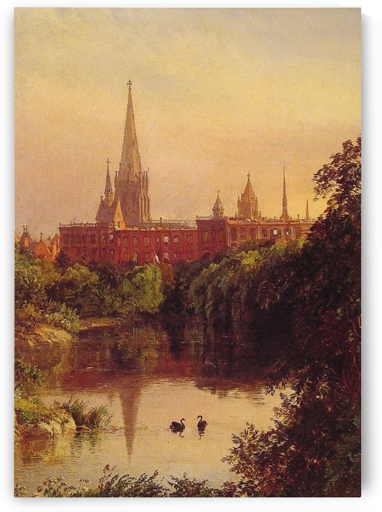 A view in Central Park by Jasper Francis Cropsey