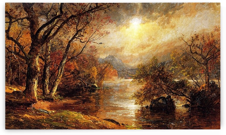 A Misty Morning at Greenwood Lake by Jasper Francis Cropsey