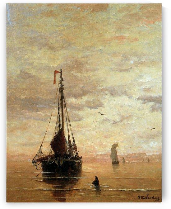 Ships On A Calm Sea Near The Coast Sun by Hendrik Willem Mesdag