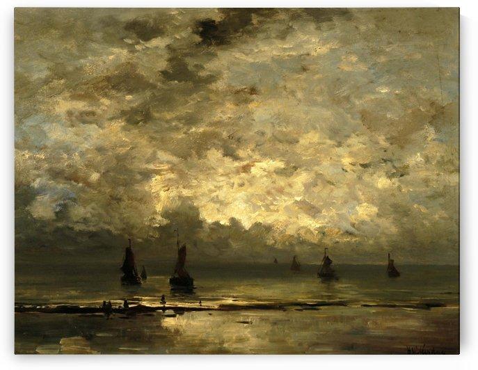 Schepen op zee onder bewolkte hemel by Hendrik Willem Mesdag