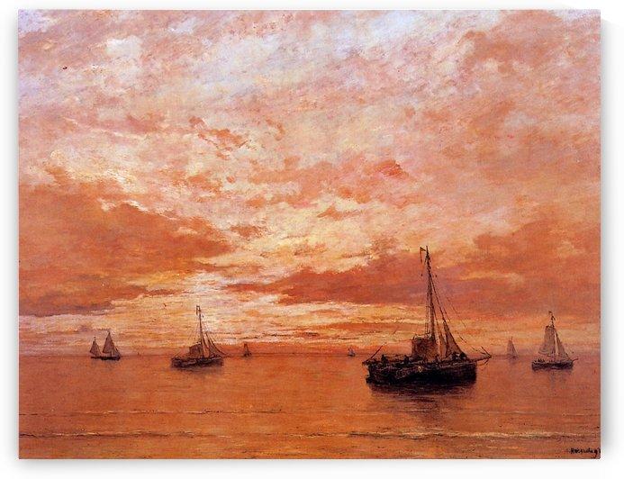 Calm Sea Sun by Hendrik Willem Mesdag