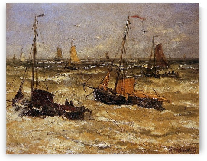 Ships For Anchor Sun by Hendrik Willem Mesdag