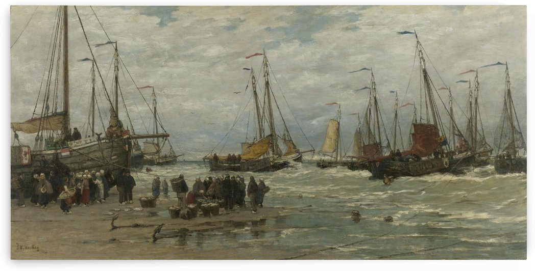 Pinken in de branding by Hendrik Willem Mesdag