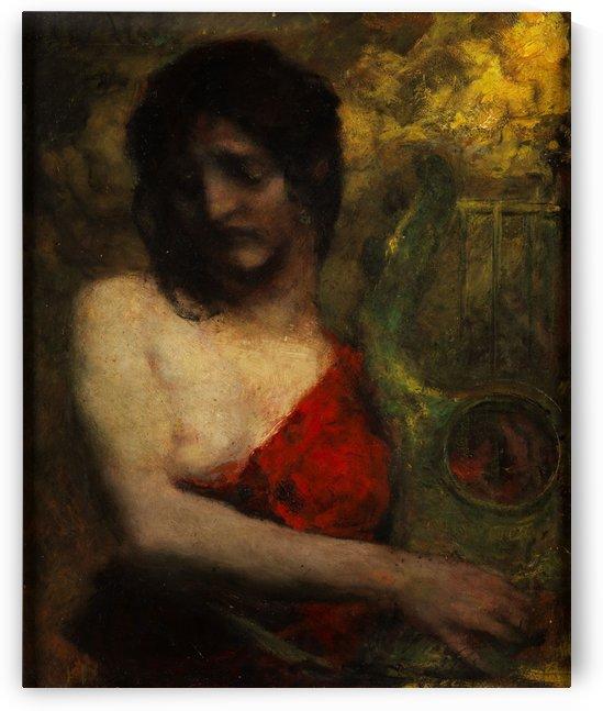 Halbakt einer jungen Frau in rotem Kleid by Ferdinand Keller