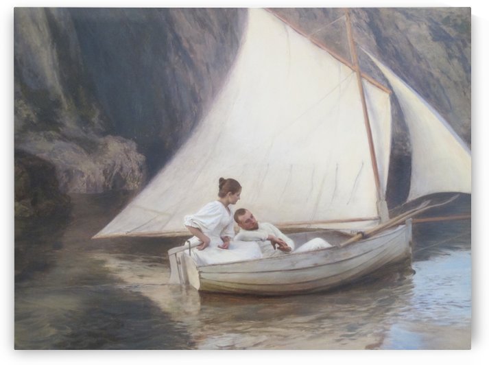 Two people on a boat by Emile Friant