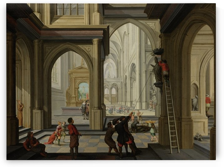 Beeldenstorm in een kerk by Dirck van Delen