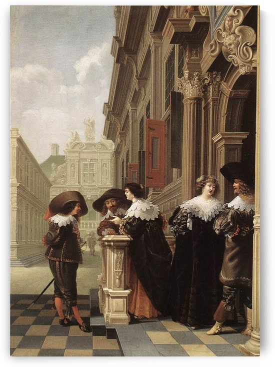 Conversation outside a Castle by Dirck van Delen