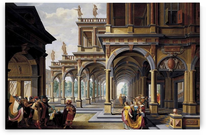 Architectural Capriccio with Jephthah and His Daughter by Dirck van Delen
