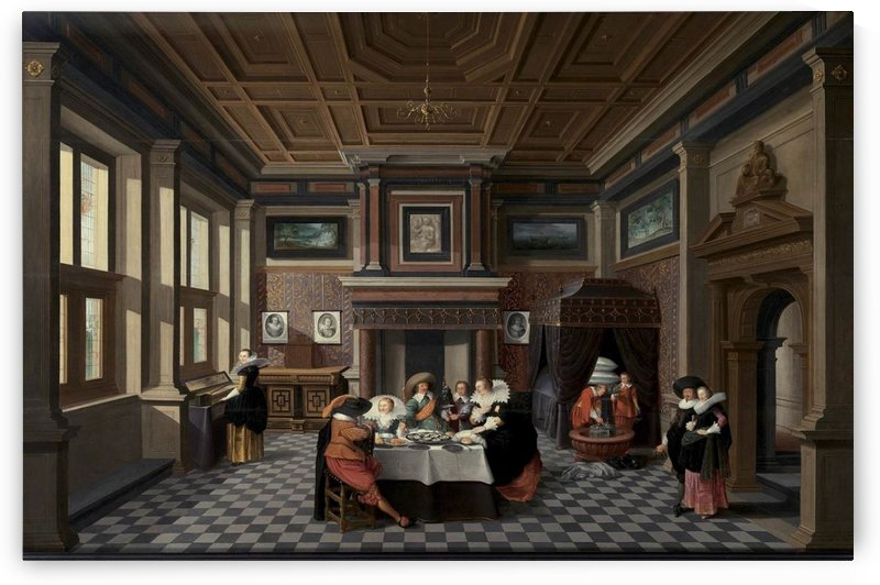 An Interior with Ladies and Gentlemen Dining by Dirck van Delen
