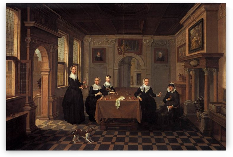 Group portrait of five women in an interior by Dirck van Delen