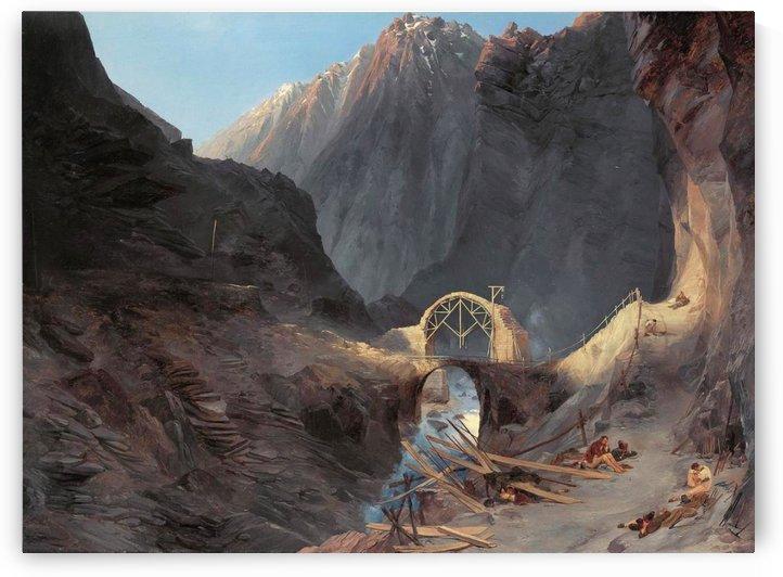 Bau der Teufelsbrucke by Carl Eduard Ferdinand Blechen