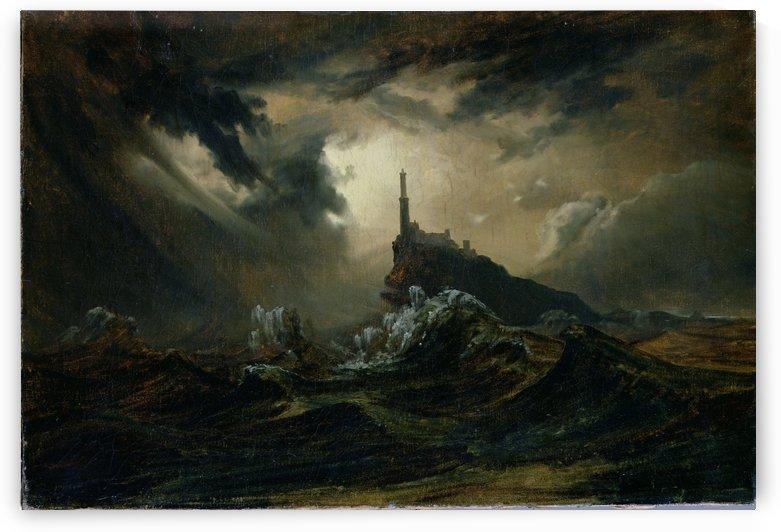 Sturmische See mit Leuchtturm by Carl Eduard Ferdinand Blechen
