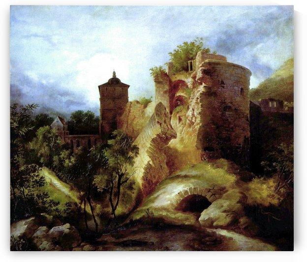 A deserted castle by Carl Eduard Ferdinand Blechen