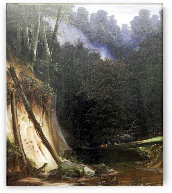 Waldschlucht mit Rotwild by Carl Eduard Ferdinand Blechen