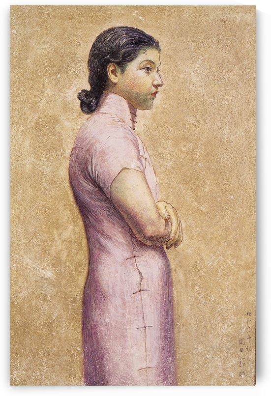 Portrait of a Woman in a white dress by Okada Saburosuke