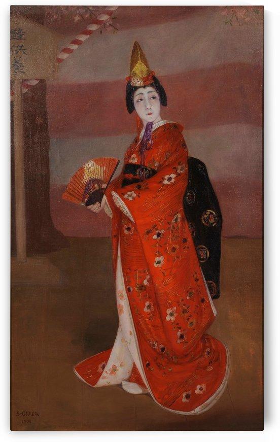 A woman in a long red dress by Okada Saburosuke