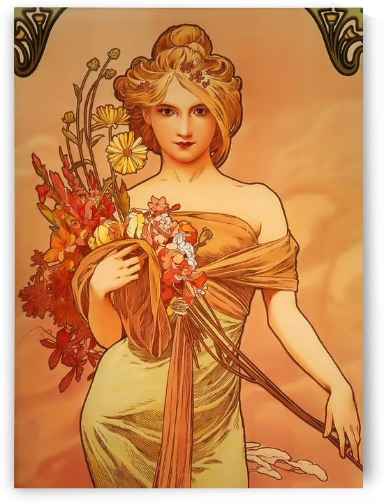 Lady with flowers by Alphonse Mucha