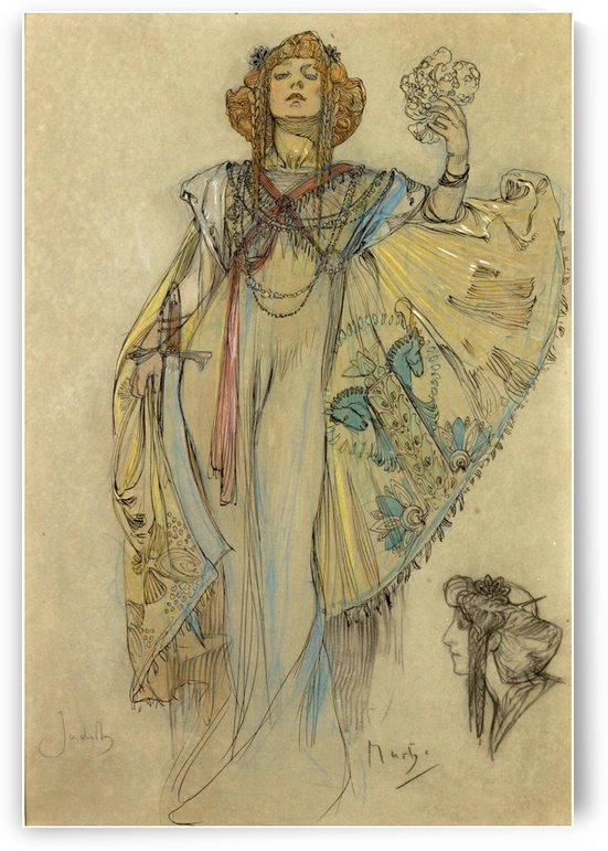 Woman in blue dress by Alphonse Mucha
