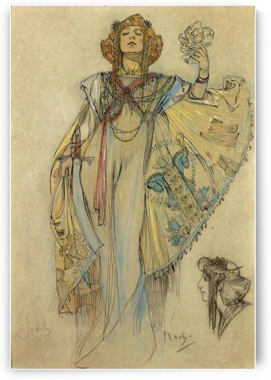Woman in blue dress by Alphonse Mucha