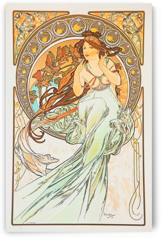 Woman in white dress by Alphonse Mucha