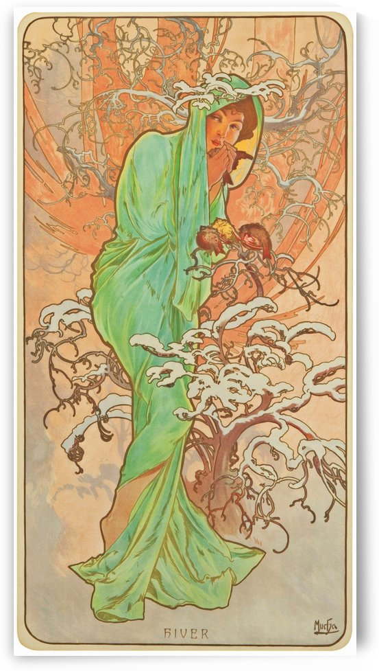 Winter by Alphonse Mucha