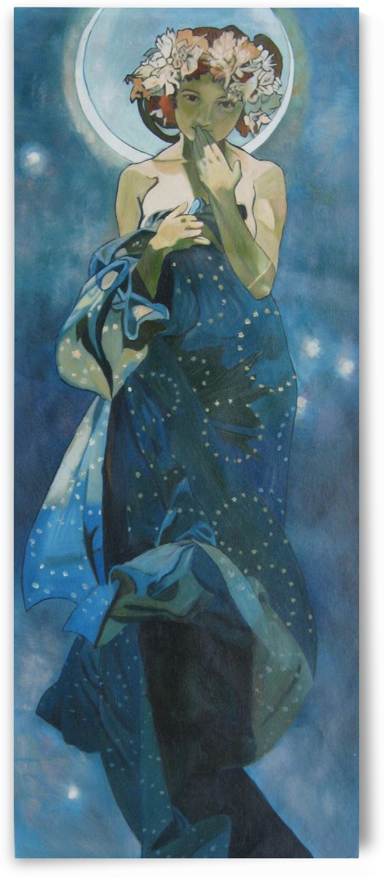 Moon and stars by Alphonse Mucha