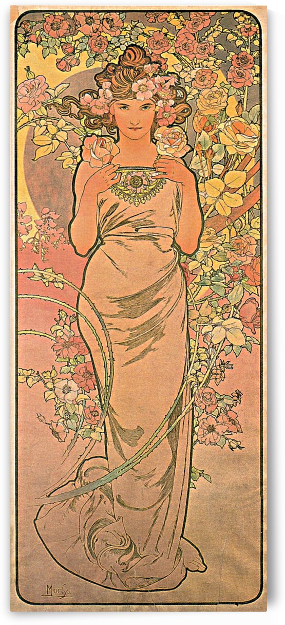 The rose, 1898 by Alphonse Mucha