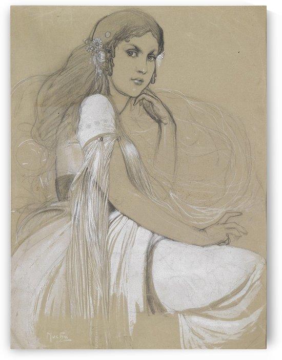 1930 Portrait of Jaroslava Mucha in Czech National Costume by Alphonse Mucha