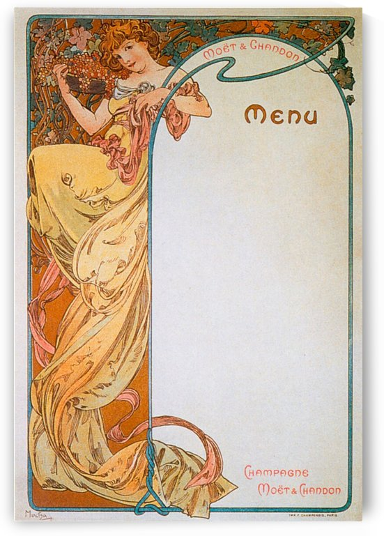 1899 Moet - Chandon menu by Alphonse Mucha