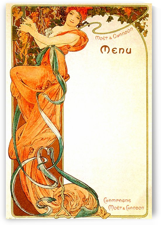 1899 Moet & Chandon menu by Alphonse Mucha