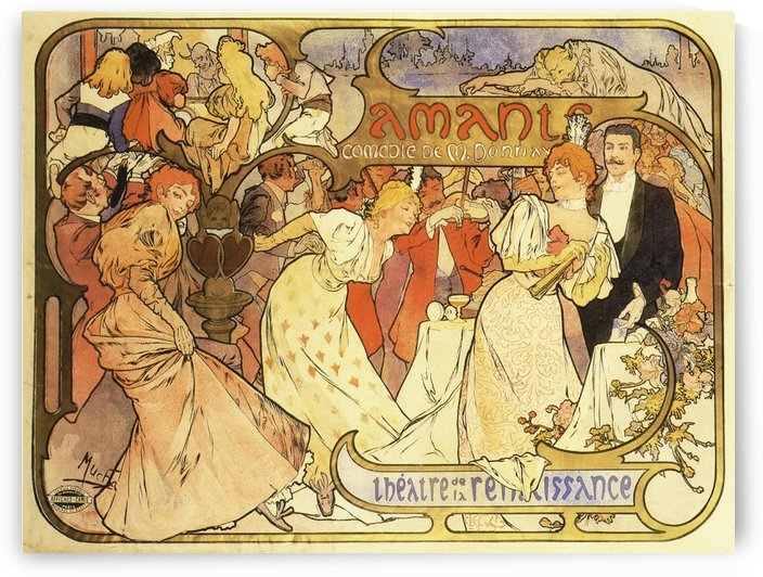 1895 Poster for Amants - Comedie by Alphonse Mucha