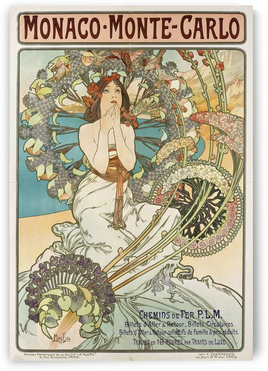 1897 Poster for Monaco - Monte-Carlo by Alphonse Mucha