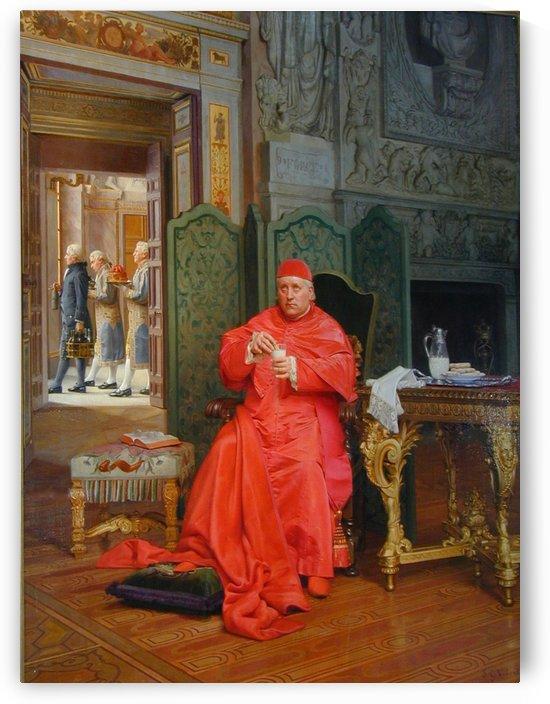 A cardinal resting by Jehan Georges Vibert