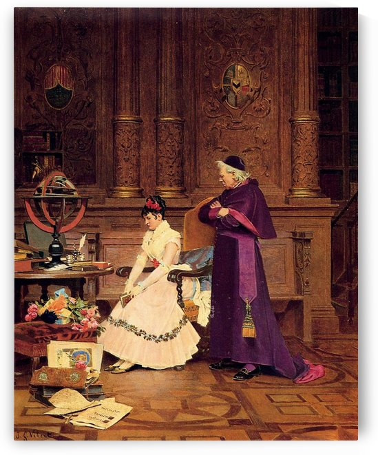 A cardinal and a lady by Jehan Georges Vibert