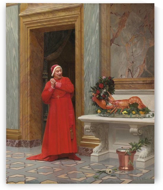 A cardinal and a lobster by Jehan Georges Vibert
