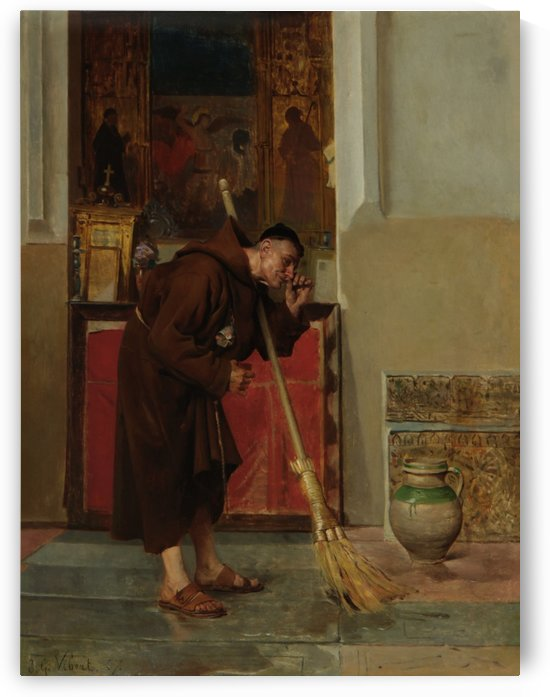 A monk cleaning the church by Jehan Georges Vibert