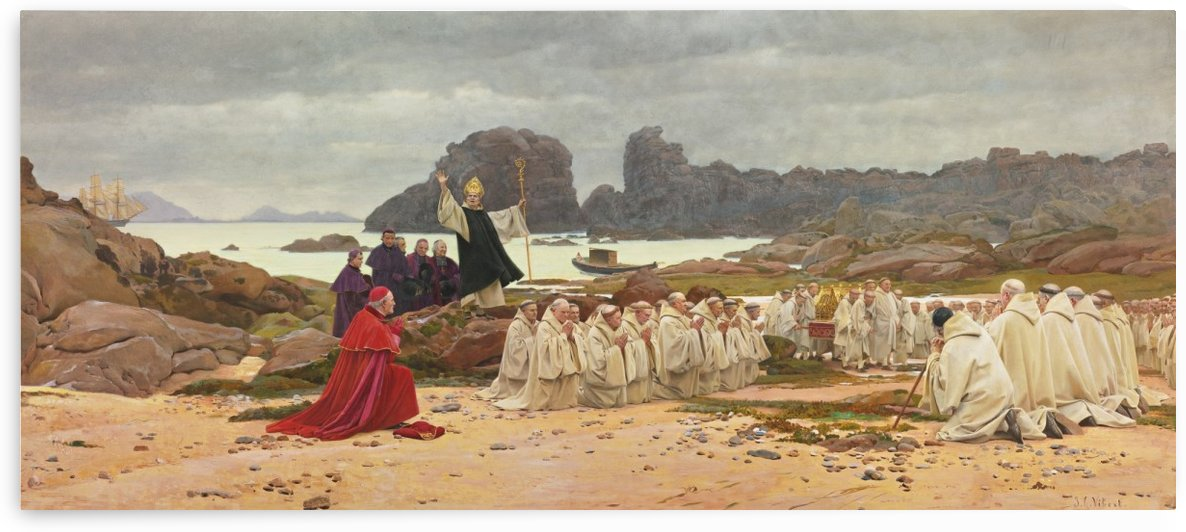 A prayer in the wilderness by Jehan Georges Vibert