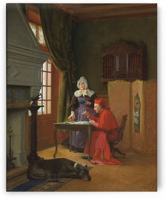 Inside a Cardinal's home by Jehan Georges Vibert