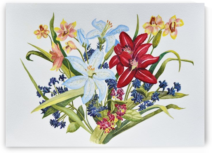 Lilies and Orchids by Linda Brody