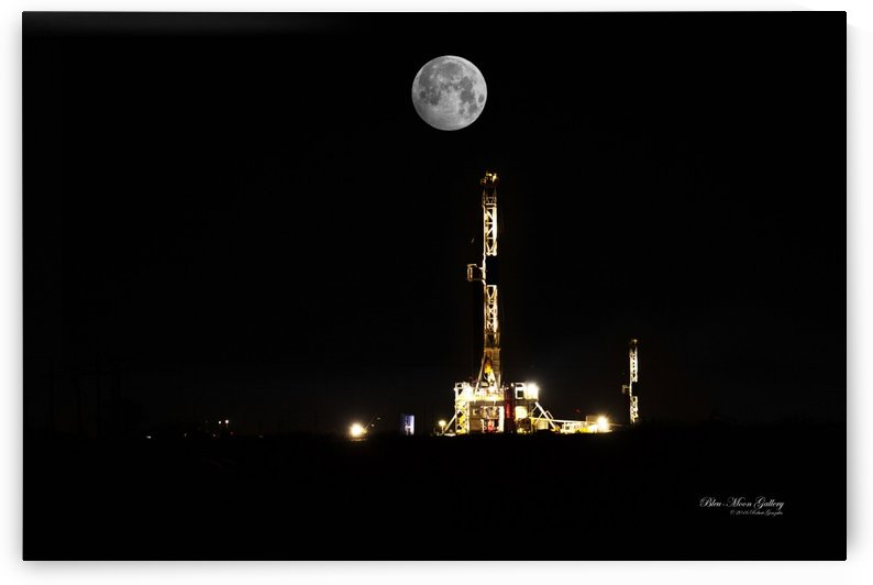 Moon Over Drilling Rig by Bleu-Moon Gallery