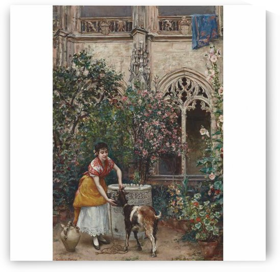 A woman feedig a goat by Ricardo de Madrazo y Garreta