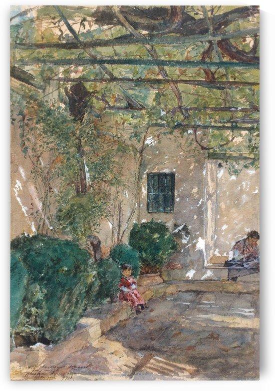 Children resting in the yard by Ricardo de Madrazo y Garreta