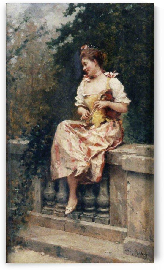 A young girl resting by Ricardo de Madrazo y Garreta