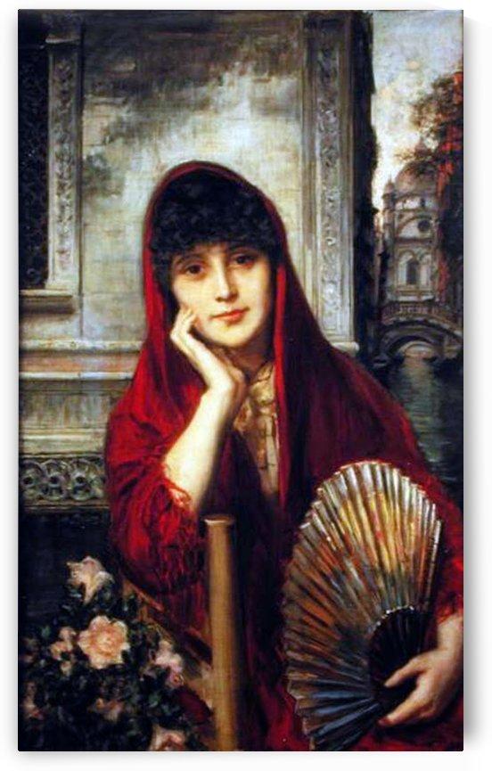 A woman with a red scarf by Ricardo de Madrazo y Garreta
