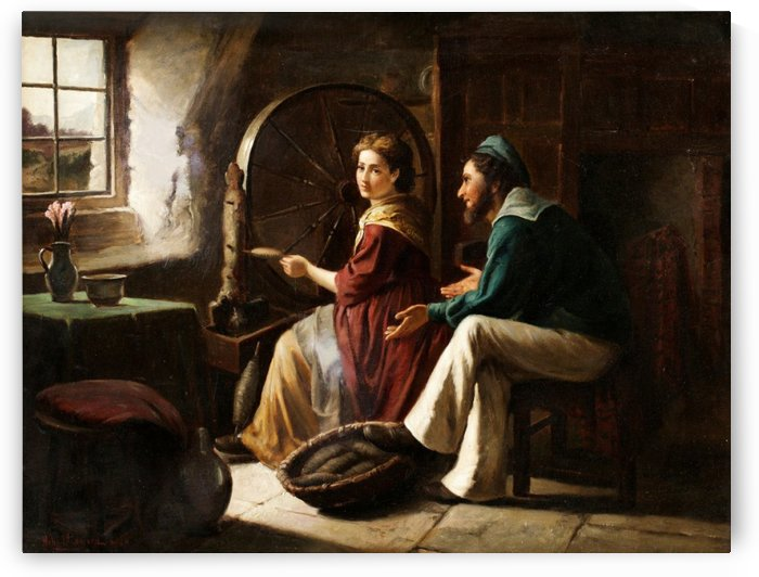 A young couple at work by Ricardo de Madrazo y Garreta