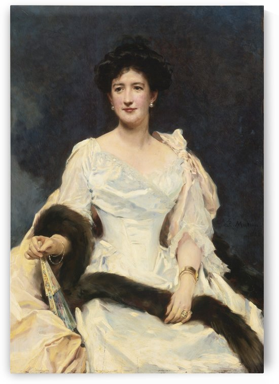 A young woman with a fur by Ricardo de Madrazo y Garreta