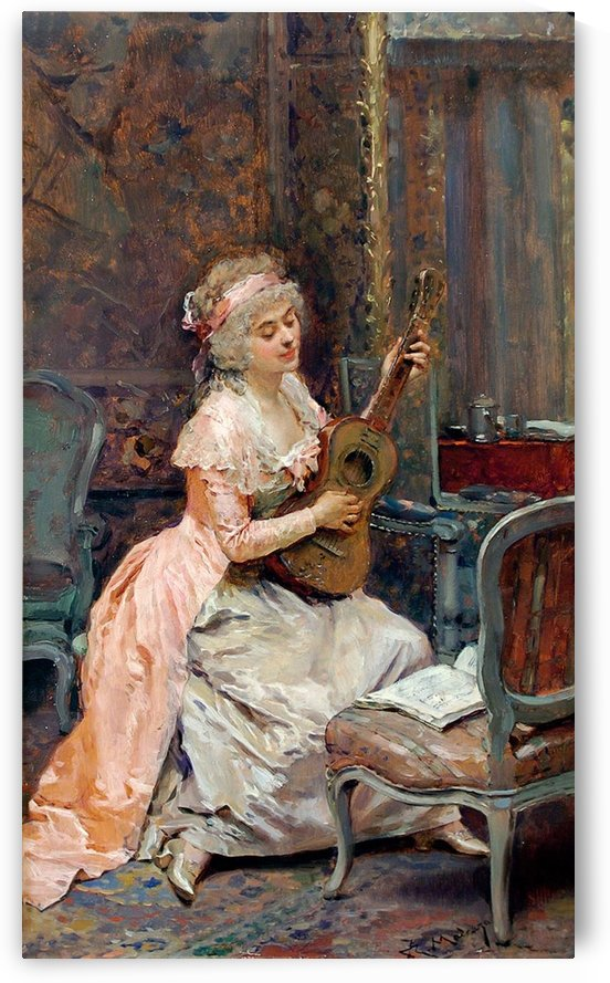 A woman playing the quitar by Ricardo de Madrazo y Garreta