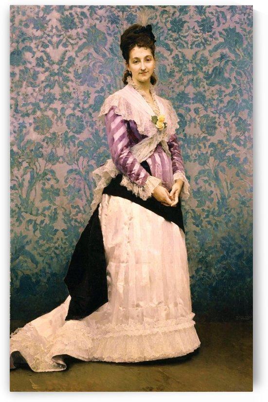 An elegant woman in purple by Ricardo de Madrazo y Garreta