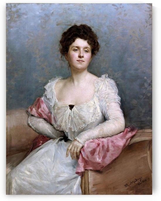 A lady in a white dress by Ricardo de Madrazo y Garreta