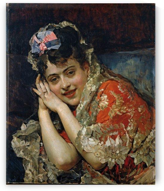 Aline Masson, con mantilla blanca by Ricardo de Madrazo y Garreta